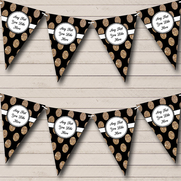 Black And Glitter Gold Spots Personalised Wedding Anniversary Party Bunting