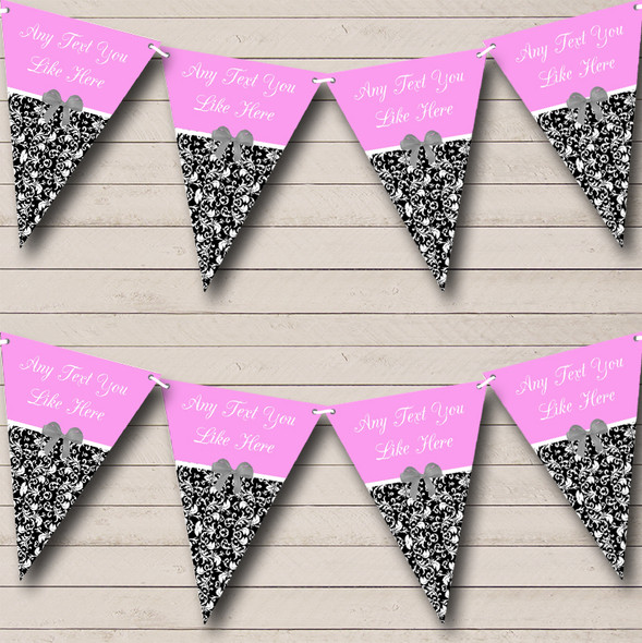Baby Pink Damask Personalised Wedding Anniversary Party Bunting