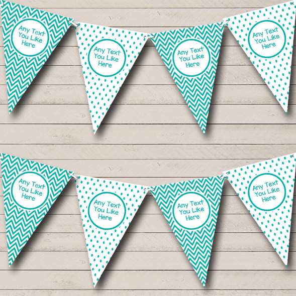Turquoise Polkadot And Chevron Personalised Baby Shower Bunting