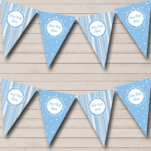 Soft Blue Stripes And Stars Personalised Baby Shower Bunting