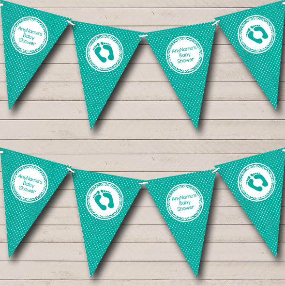 Polkadot Turquoise Green Personalised Baby Shower Bunting
