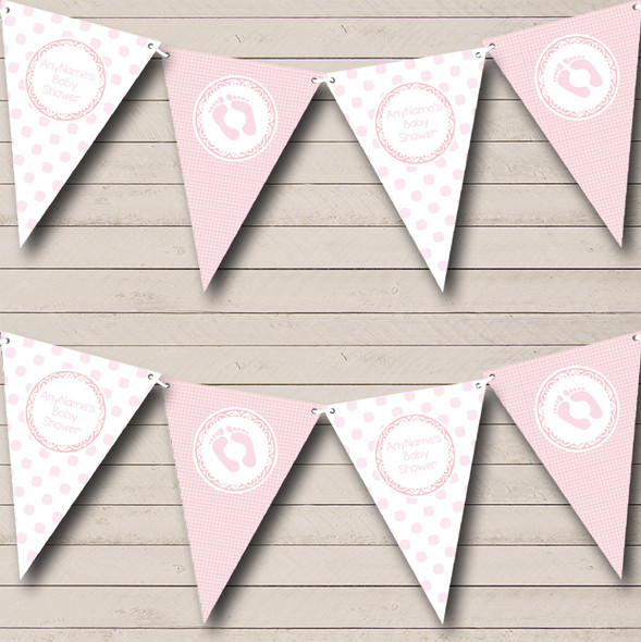 Pink Check And Spots Personalised Baby Shower Bunting