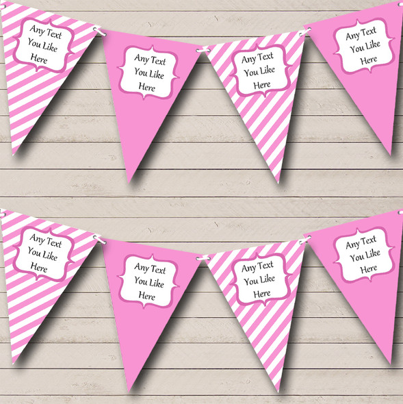 Pink And White Stripes Personalised Baby Shower Bunting