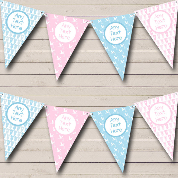 Pink And Blue Grow Stork Boy Girl Personalised Baby Shower Bunting