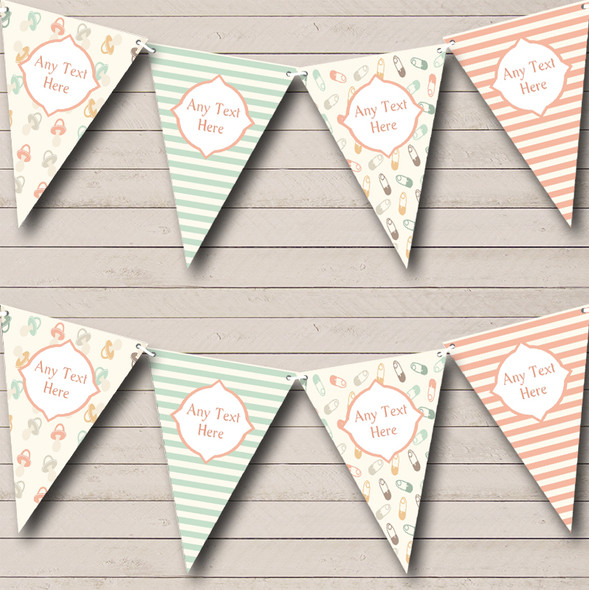 Neutral Nappy Pins Dummies Stripes Personalised Baby Shower Bunting