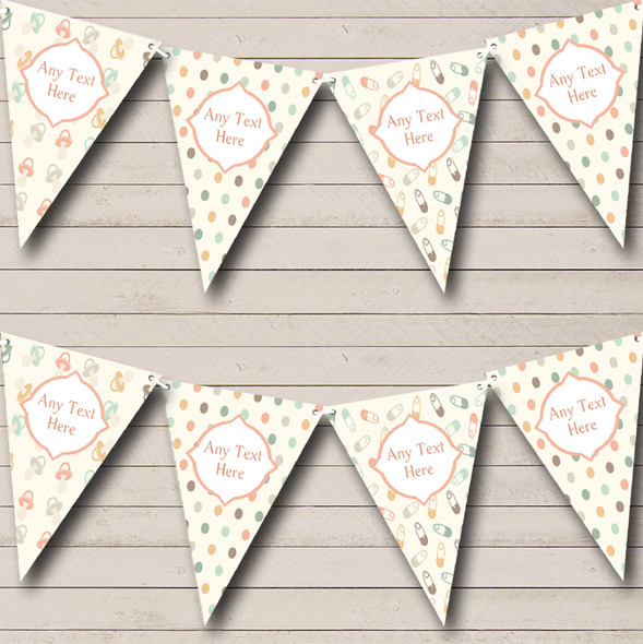 Neutral Nappy Pins Dummies Personalised Baby Shower Bunting