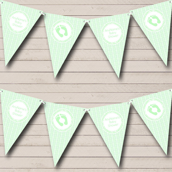 Green Love Hearts Personalised Baby Shower Bunting