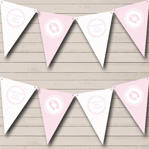 Girl Pink And White Personalised Baby Shower Bunting