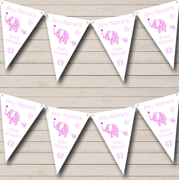 Cute Elephants Girl Pink Personalised Baby Shower Bunting