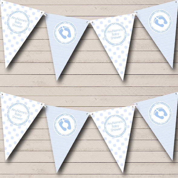 Boy Blue Stripes Spots Personalised Baby Shower Bunting