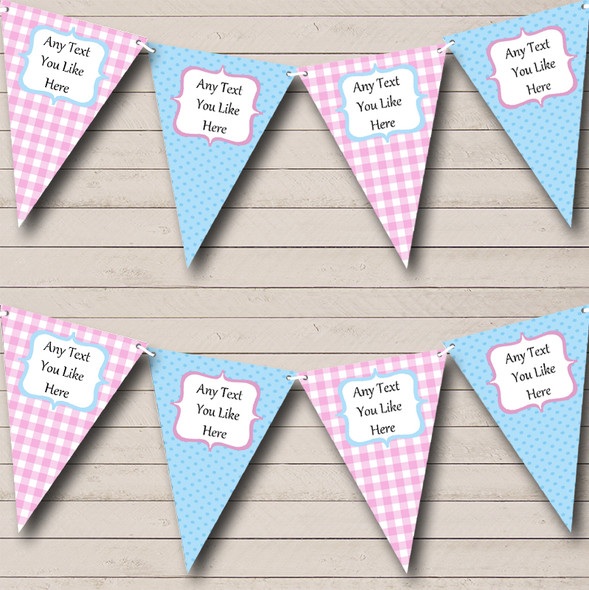 Blue & Pink Gingham And Polka Dot Personalised Baby Shower Bunting