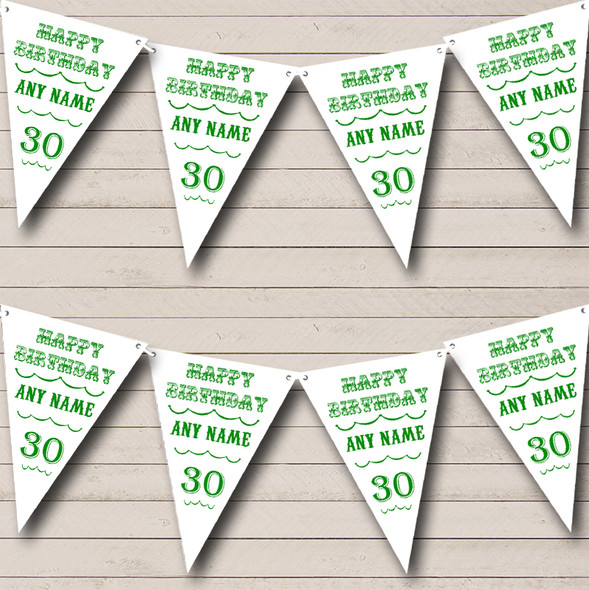 Vintage Text Any Age Birthday White Green Personalised Birthday Party Bunting