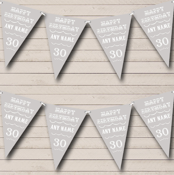 Vintage Text Any Age Birthday Silver Grey Personalised Birthday Party Bunting