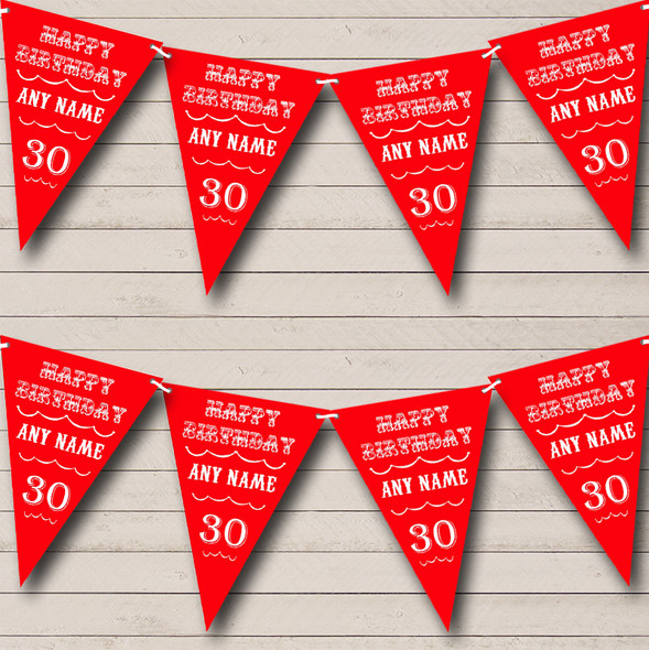 Vintage Text Any Age Birthday Red Personalised Birthday Party Bunting