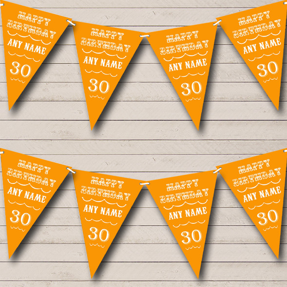 Vintage Text Any Age Birthday Orange Personalised Birthday Party Bunting
