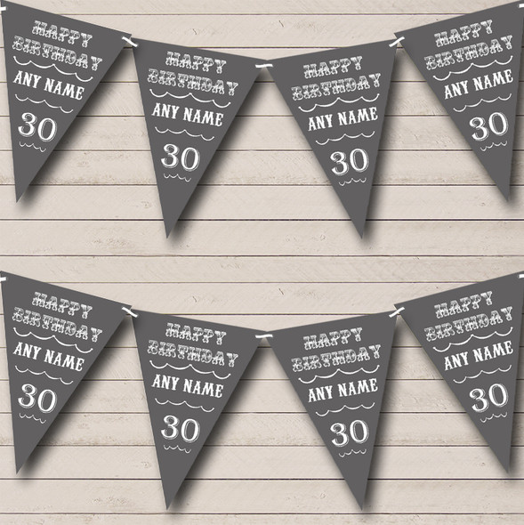 Vintage Text Any Age Birthday Grey Personalised Birthday Party Bunting