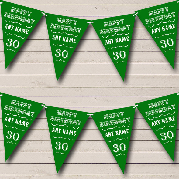 Vintage Text Any Age Birthday Green Personalised Birthday Party Bunting