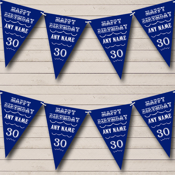 Vintage Text Any Age Birthday Dark Navy Blue Personalised Birthday Party Bunting