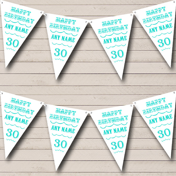 Text Any Age Birthday White Turquoise Personalised Birthday Party Bunting