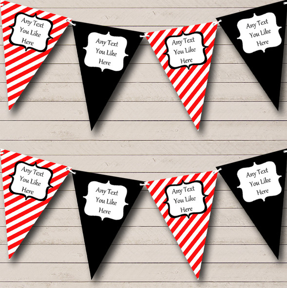 Red Black And White Stripes Personalised Birthday Party Bunting