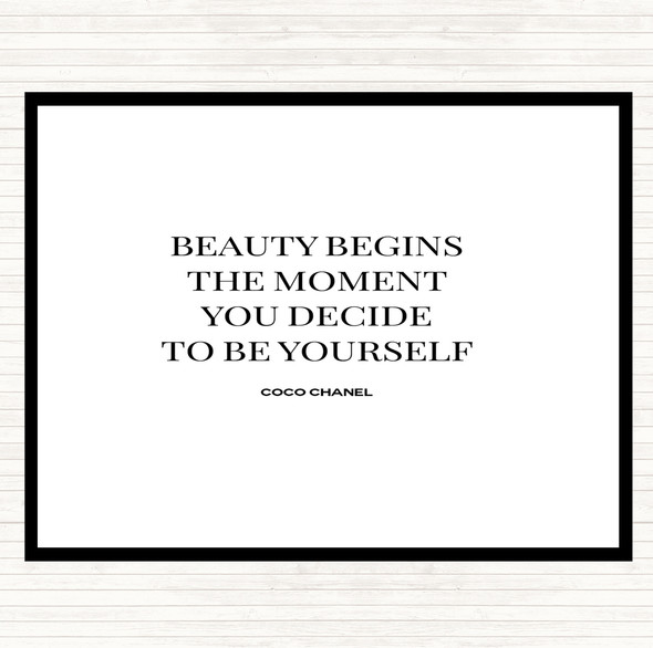 White Black Coco Chanel Be Yourself Quote Mouse Mat Pad