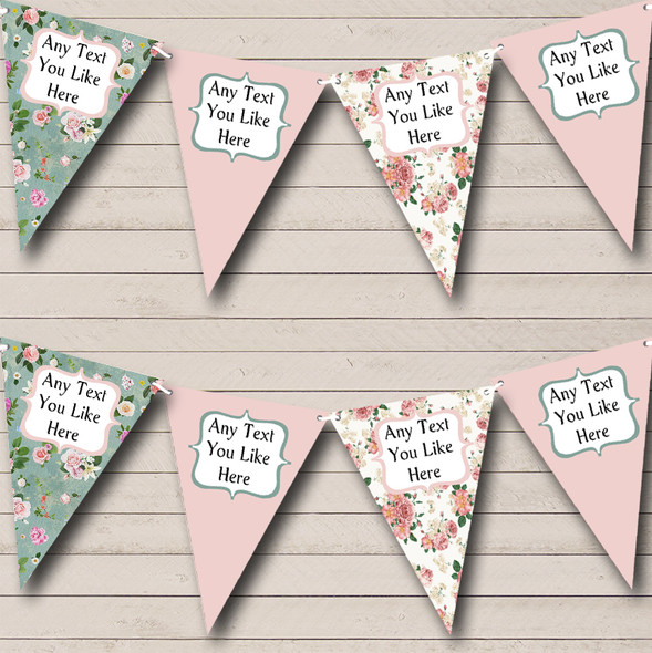 Pink Green Shabby Chic Floral Personalised Birthday Party Bunting