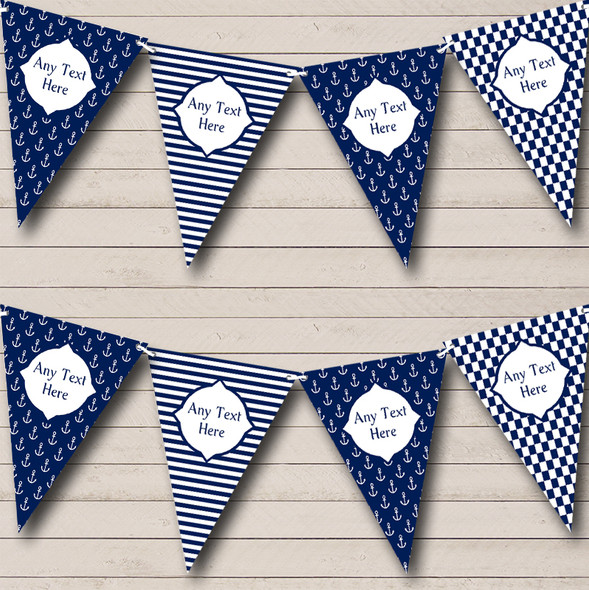 Navy Blue Nautical Anchor Stripes Personalised Birthday Party Bunting