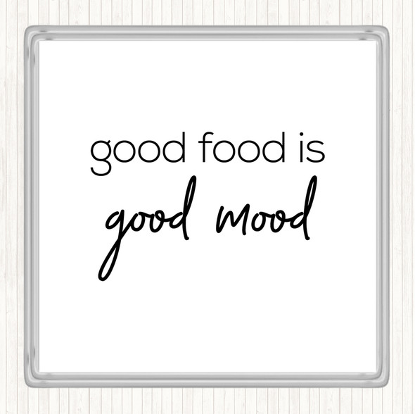 White Black Good Food Quote Drinks Mat Coaster