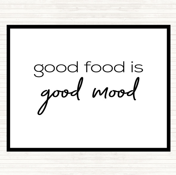 White Black Good Food Quote Dinner Table Placemat