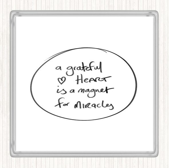 White Black Grateful Heart Quote Drinks Mat Coaster
