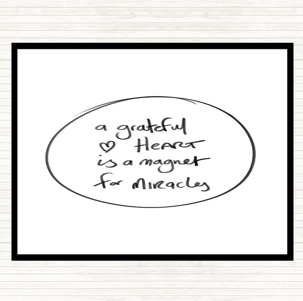 White Black Grateful Heart Quote Dinner Table Placemat