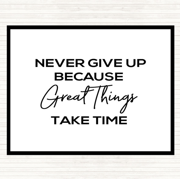 White Black Great Things Quote Dinner Table Placemat