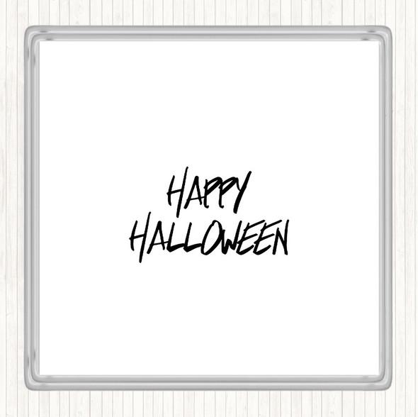 White Black Halloween Quote Drinks Mat Coaster