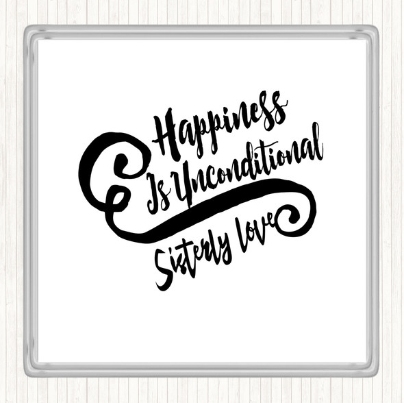 White Black Happiness Is Quote Drinks Mat Coaster