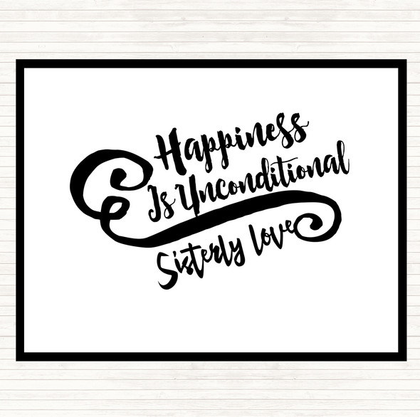 White Black Happiness Is Quote Dinner Table Placemat