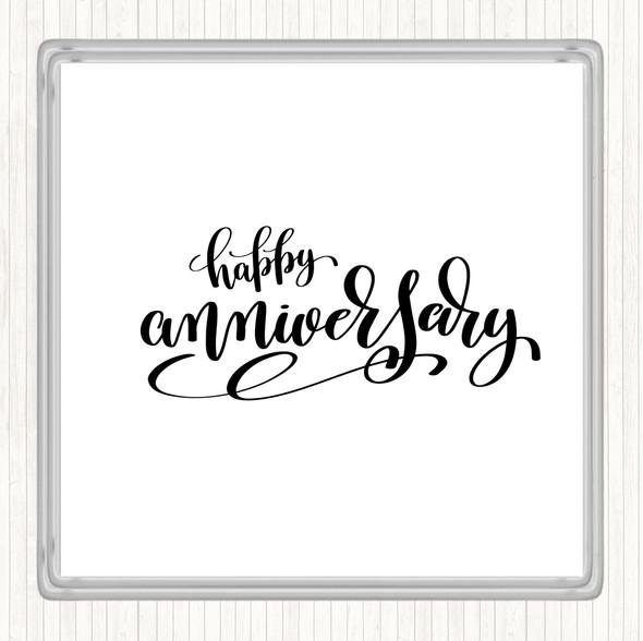 White Black Happy Anniversary Quote Drinks Mat Coaster