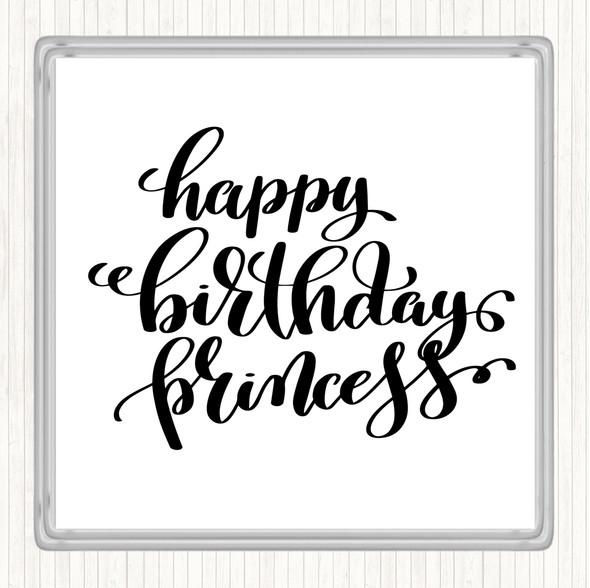 White Black Happy Birthday Princess Quote Drinks Mat Coaster