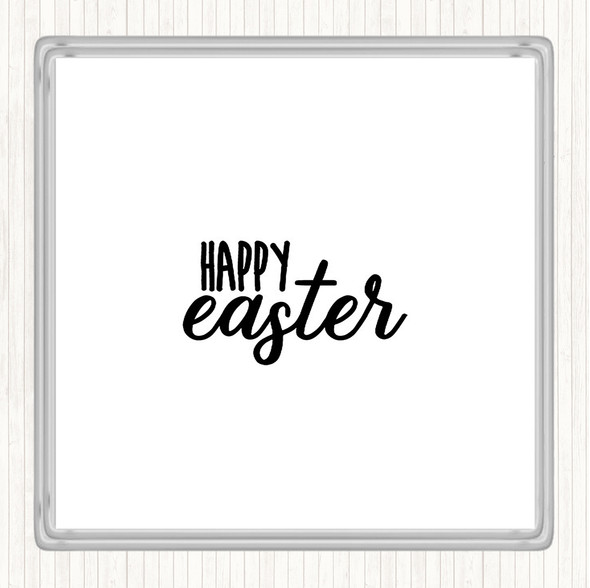 White Black Happy Easter Quote Drinks Mat Coaster