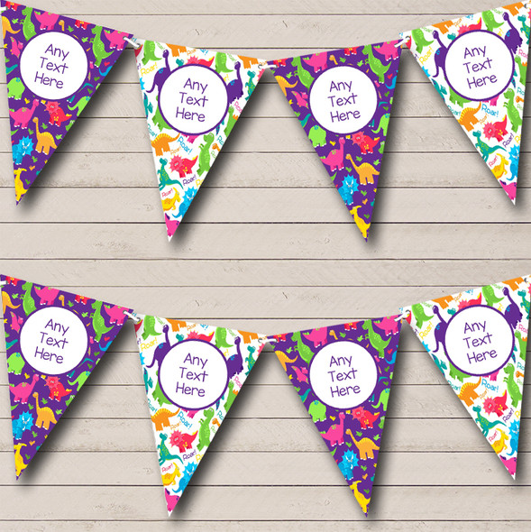 Dinosaur Colourful Purple Personalised Children's Birthday Party Bunting