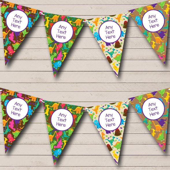 Dinosaur Colourful Brown Personalised Children's Birthday Party Bunting