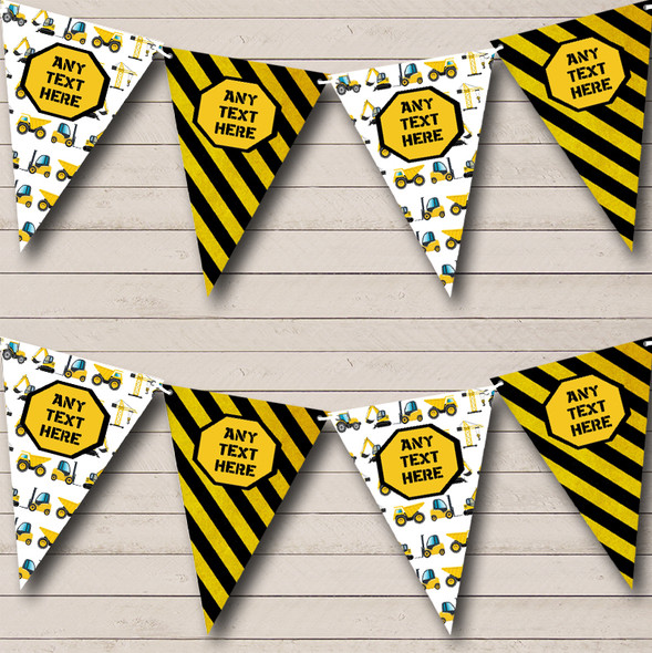 Construction Digger Tractor Personalised Children's Birthday Party Bunting