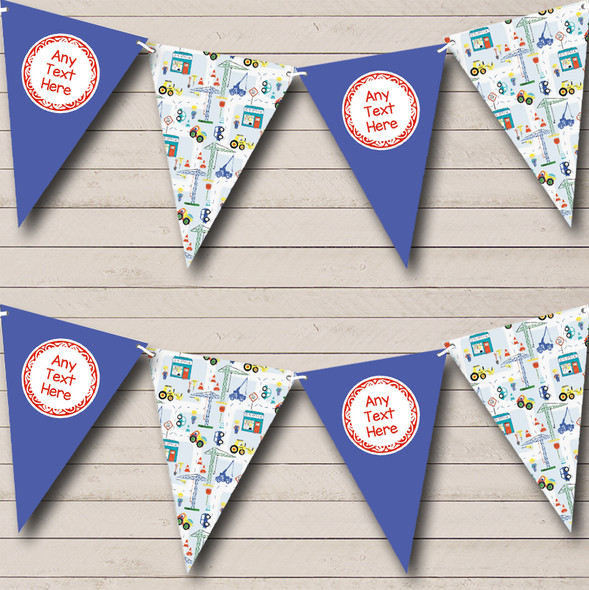 Construction Digger Tractor Blue Personalised Children's Birthday Party Bunting