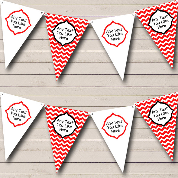 Chevron Stripes Red & White Personalised Children's Birthday Party Bunting