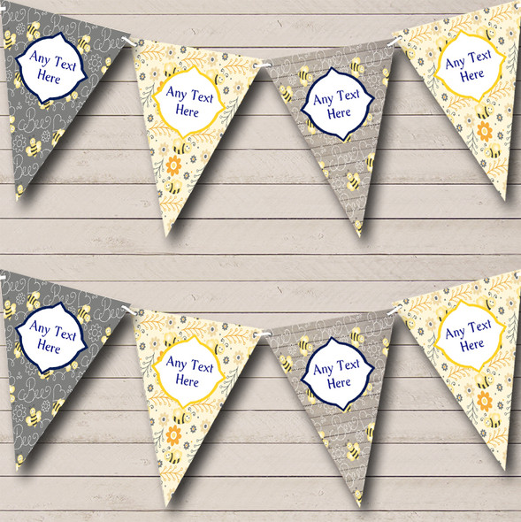 Bumble Bee Grey & Yellow Personalised Children's Birthday Party Bunting