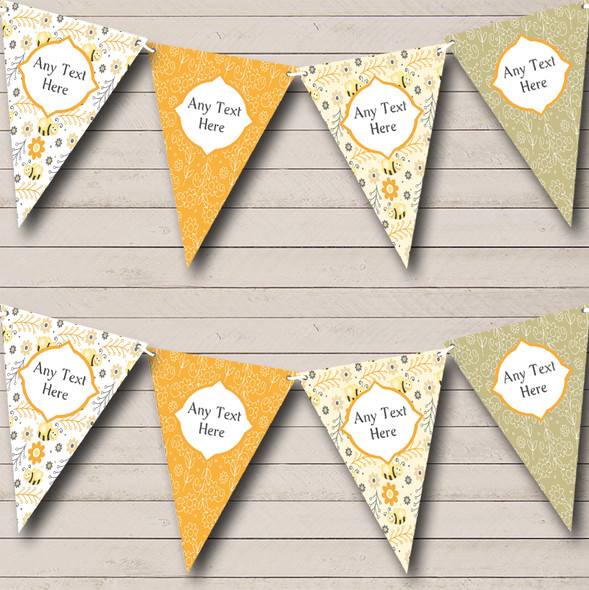 Bumble Bee & Flowers Personalised Children's Birthday Party Bunting