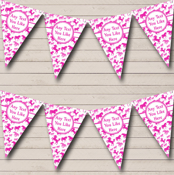 Bright Pink Horses Personalised Children's Birthday Party Bunting