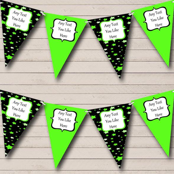 Black & Green Stars Personalised Children's Birthday Party Bunting