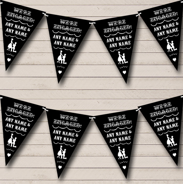 Vintage Text Engagement Black And White Personalised Engagement Party Bunting