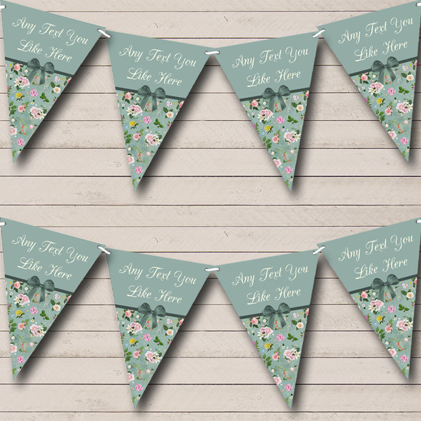 Vintage Shabby Chic Green Bow Personalised Engagement Party Bunting