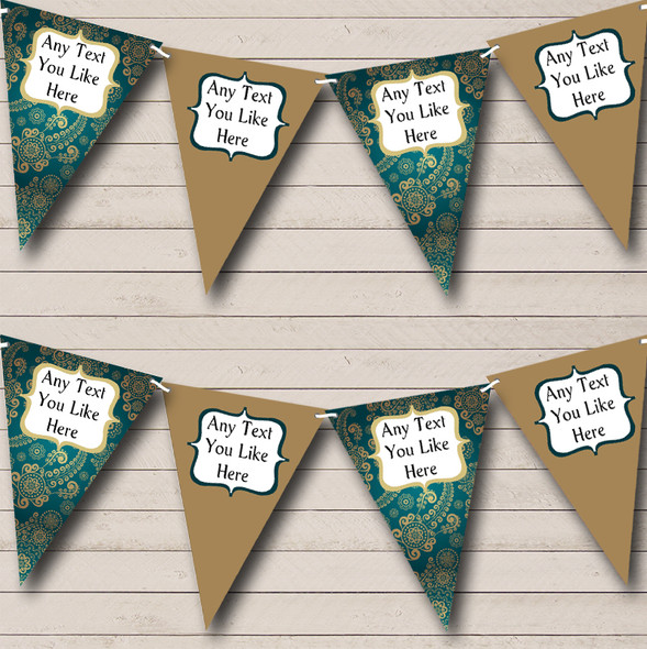 Turquoise Teal Green & Gold Vintage Personalised Engagement Party Bunting